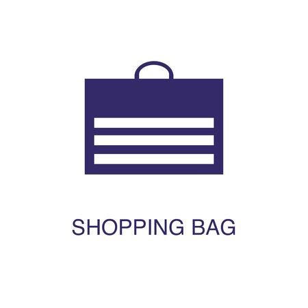 Shopping bag element in flat simple style on white background. Shopping bag icon, with text name concept template Illustration