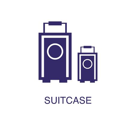Suitcase element in flat simple style on white background. Suitcase icon, with text name concept template