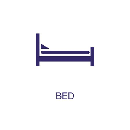 Bed element in flat simple style on white background. Bed icon, with text name concept template Illustration