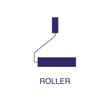Roller element in flat simple style on white background. Roller icon, with text name concept template Illustration