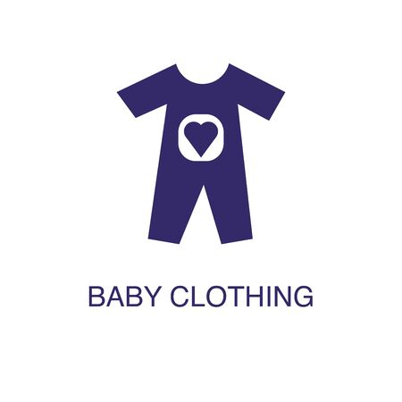 Baby clothing element in flat simple style on white background. Baby clothing icon, with text name concept template Illustration