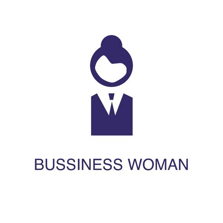 Businesswoman element in flat simple style on white background. Businesswoman icon, with text name concept template