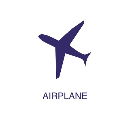 Airplane element in flat simple style on white background. Airplane icon, with text name concept template Illustration