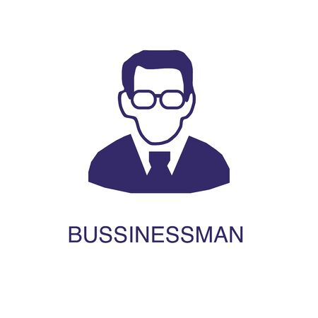 Businessman element in flat simple style on white background. Businessman icon, with text name concept template Illustration