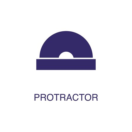 Protractor element in flat simple style on white background. Protractor icon, with text name concept template