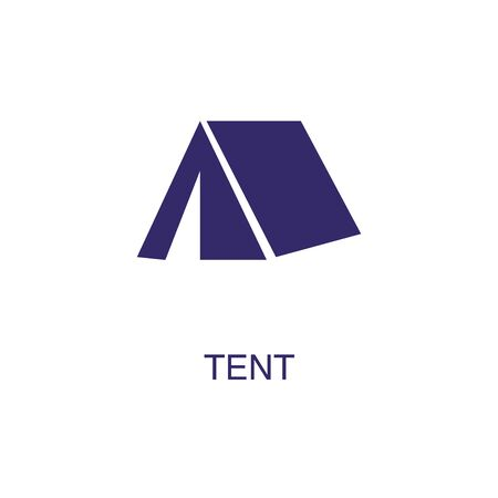 Tent element in flat simple style on white background. Tent icon, with text name concept template
