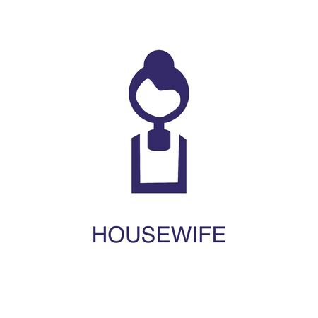 Housewife element in flat simple style on white background. Housewife icon, with text name concept template Ilustracja