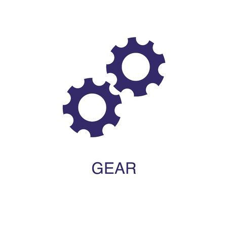 Gear element in flat simple style on white background. Gear icon, with text name concept template Illustration