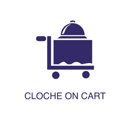 Cloche on cart element in flat simple style on white background. Cloche on cart icon, with text name concept template