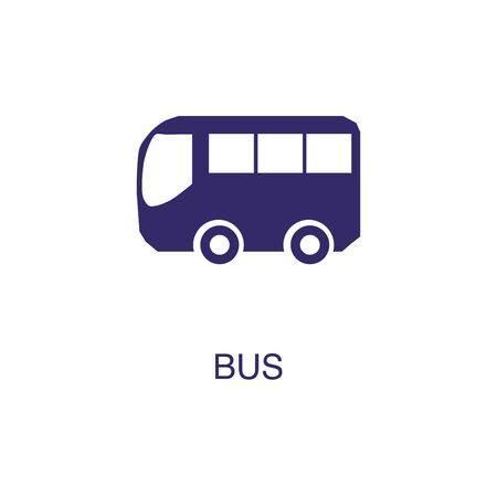Bus element in flat simple style on white background. Bus icon, with text name concept template Illustration