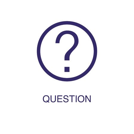 Question element in flat simple style on white background. Question icon, with text name concept template