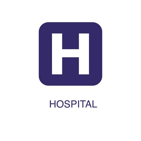 Hospital element in flat simple style on white background. Hospital icon, with text name concept template
