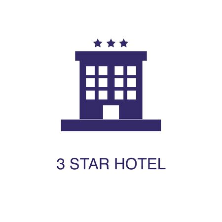 Hotel element in flat simple style on white background. Hotel icon, with text name concept template Illustration
