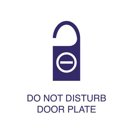 Do not disturb door plate element in flat simple style on white background. Do not disturb door plate icon, with text name concept template
