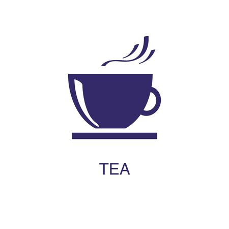 Tea element in flat simple style on white background. Tea icon, with text name concept template