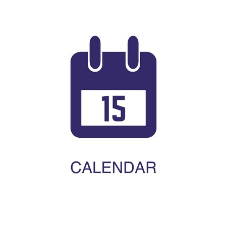 Calendar element in flat simple style on white background. Calendar icon, with text name concept template