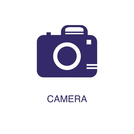 Camera element in flat simple style on white background. Camera icon, with text name concept template Illustration