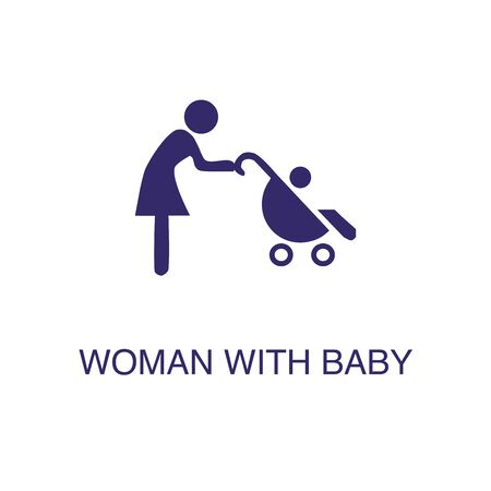 Woman with baby element in flat simple style on white background. Woman with baby icon, with text name concept template Illustration