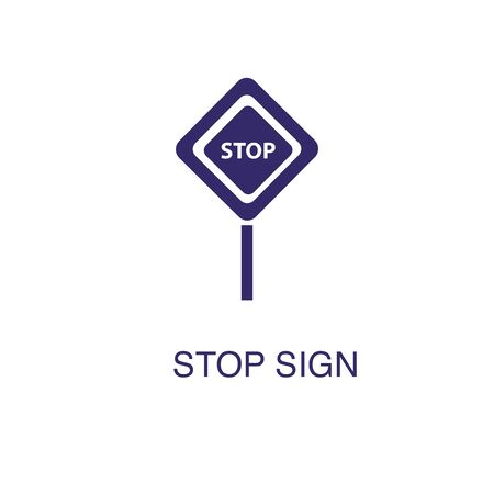 Stop element in flat simple style on white background. Stop icon, with text name concept template Illustration