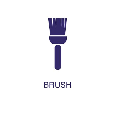 Brush element in flat simple style on white background. Brush icon, with text name concept template Illustration