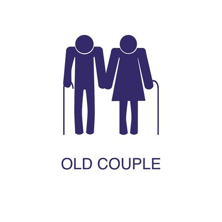 Old couple element in flat simple style on white background. Old couple icon, with text name concept template