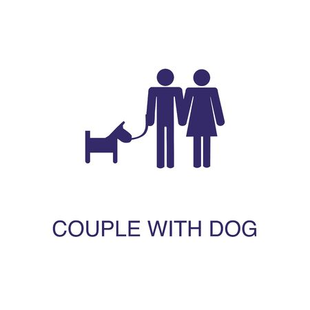 Couple with dog element in flat simple style on white background. Couple with dog icon, with text name concept template