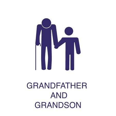 Granfather wigh child element in flat simple style on white background. Granfather wigh child icon, with text name concept template
