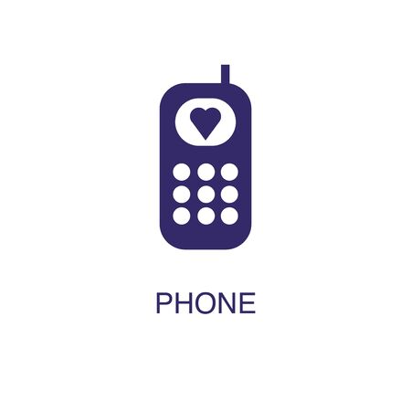 Phone element in flat simple style on white background. Phone icon, with text name concept template Illustration