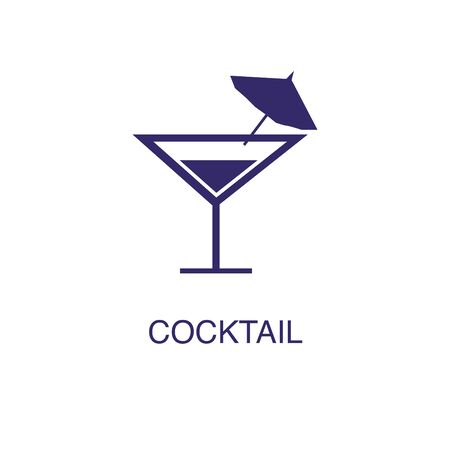 Cocktail element in flat simple style on white background. Cocktail icon, with text name concept template
