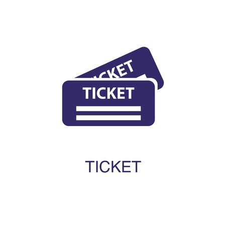 Ticket element in flat simple style on white background. Ticket icon, with text name concept template Illustration