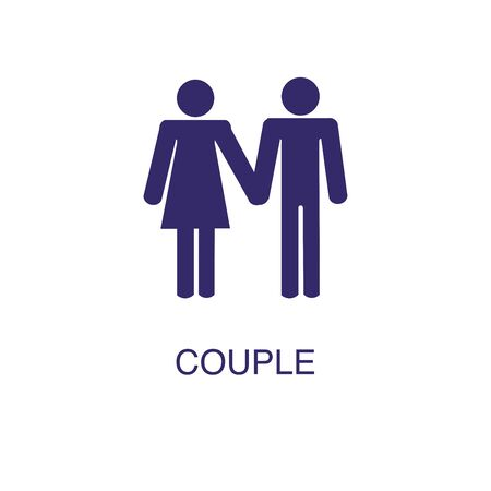 Couple element in flat simple style on white background. Couple icon, with text name concept template