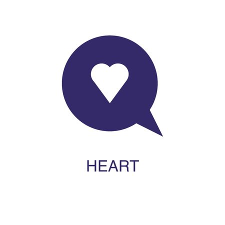 Heart element in flat simple style on white background. Heart icon, with text name concept template Illustration