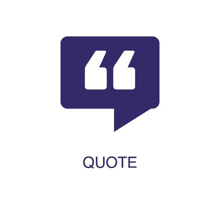 Quote element in flat simple style on white background. Quote icon, with text name concept template Illustration