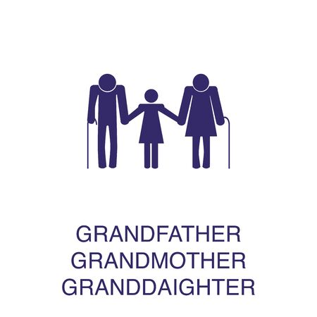 Grandfather, grandmother and granddaughter element in flat simple style on white background. Grandfather, grandmother and granddaughter icon, with text name concept template