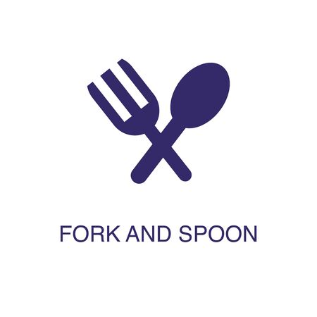 Spoon and fork element in flat simple style on white background. Spoon and fork icon, with text name concept template Illustration