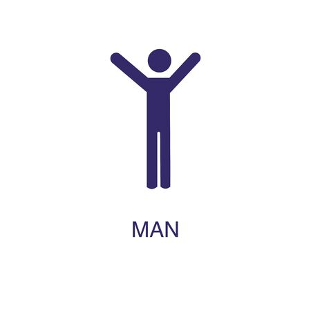 Man element in flat simple style on white background. Man icon, with text name concept template