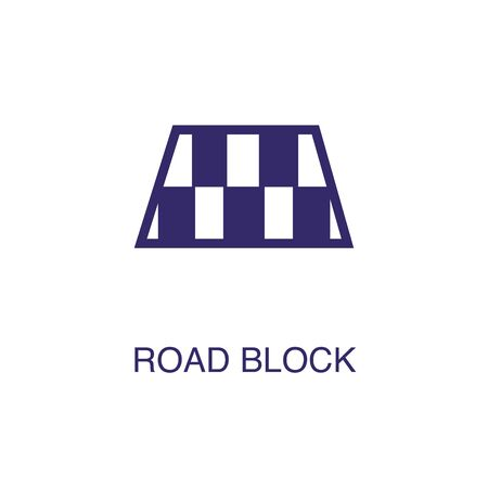 Roadblock element in flat simple style on white background. Roadblock icon, with text name concept template Illustration