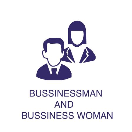 Businessman and businesswoman element in flat simple style on white background. Businessman and businesswoman icon, with text name concept template Illustration