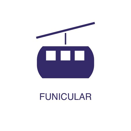 Funicular element in flat simple style on white background. Funicular icon, with text name concept template