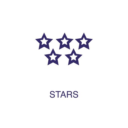Star element in flat simple style on white background. Star icon, with text name concept template Illustration