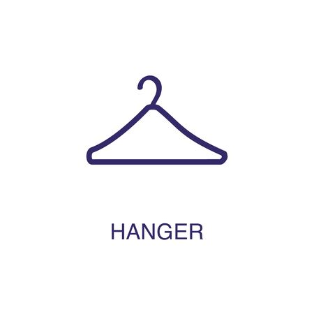 Hanger element in flat simple style on white background. Hanger icon, with text name concept template