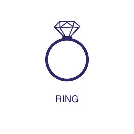Ring element in flat simple style on white background. Ring icon, with text name concept template