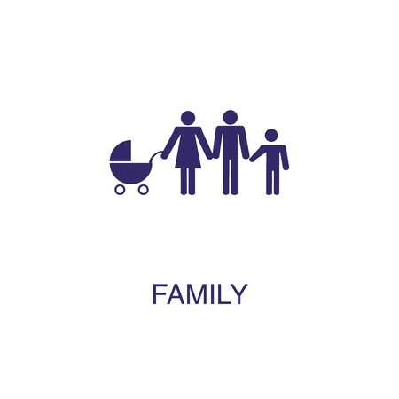 Family element in flat simple style on white background. Family icon, with text name concept template
