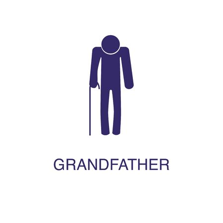 Grandfather element in flat simple style on white background. Grandfather icon, with text name concept template