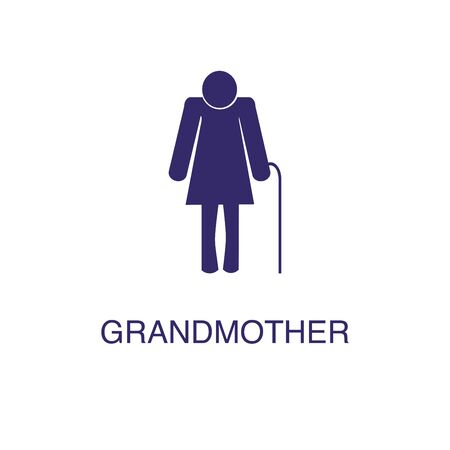 Grandmother element in flat simple style on white background. Grandmother icon, with text name concept template Illustration
