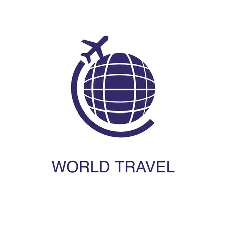 World travel element in flat simple style on white background. World travel icon, with text name concept template Banque d'images - 134449646