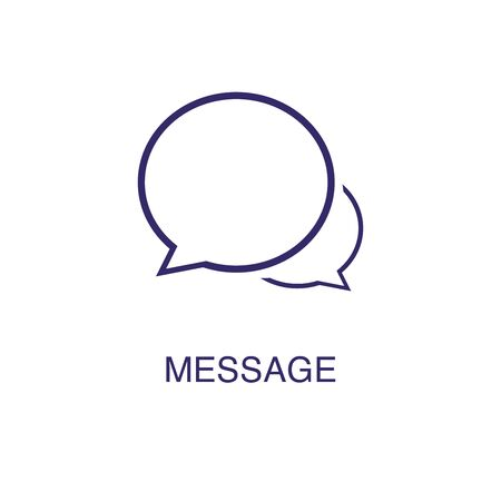 Message element in flat simple style on white background. Message icon, with text name concept template