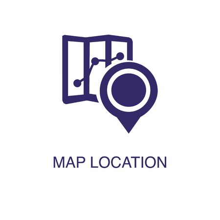 Map location element in flat simple style on white background. Map location icon, with text name concept template