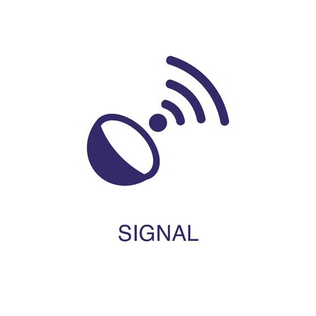 Signal element in flat simple style on white background. Signal icon, with text name concept template