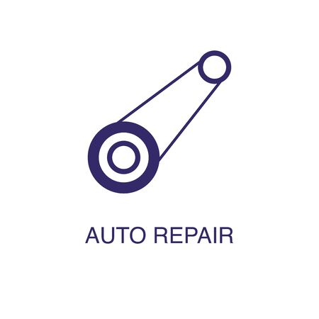 Auto repair element in flat simple style on white background. Auto repair icon, with text name concept template Banque d'images - 134449652